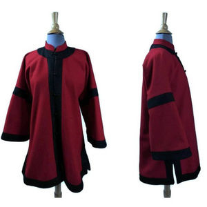 Red and Black Wool Colorblock Kimono Coat Asian